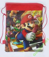 Детский рюкзак - сумка на шнурке Марио