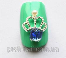 3D Украшение  «Корона, синий камень», 1 шт.