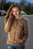 Женская курточка Шанель Chanel на кнопках цвет бежевый, фото 1