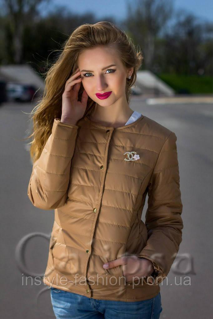 Женская курточка Шанель Chanel на кнопках цвет бежевый