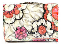 Компактный женский кожаный кошелек высокого качества H.VERDE  art. 2239-D59 цветы реплилия