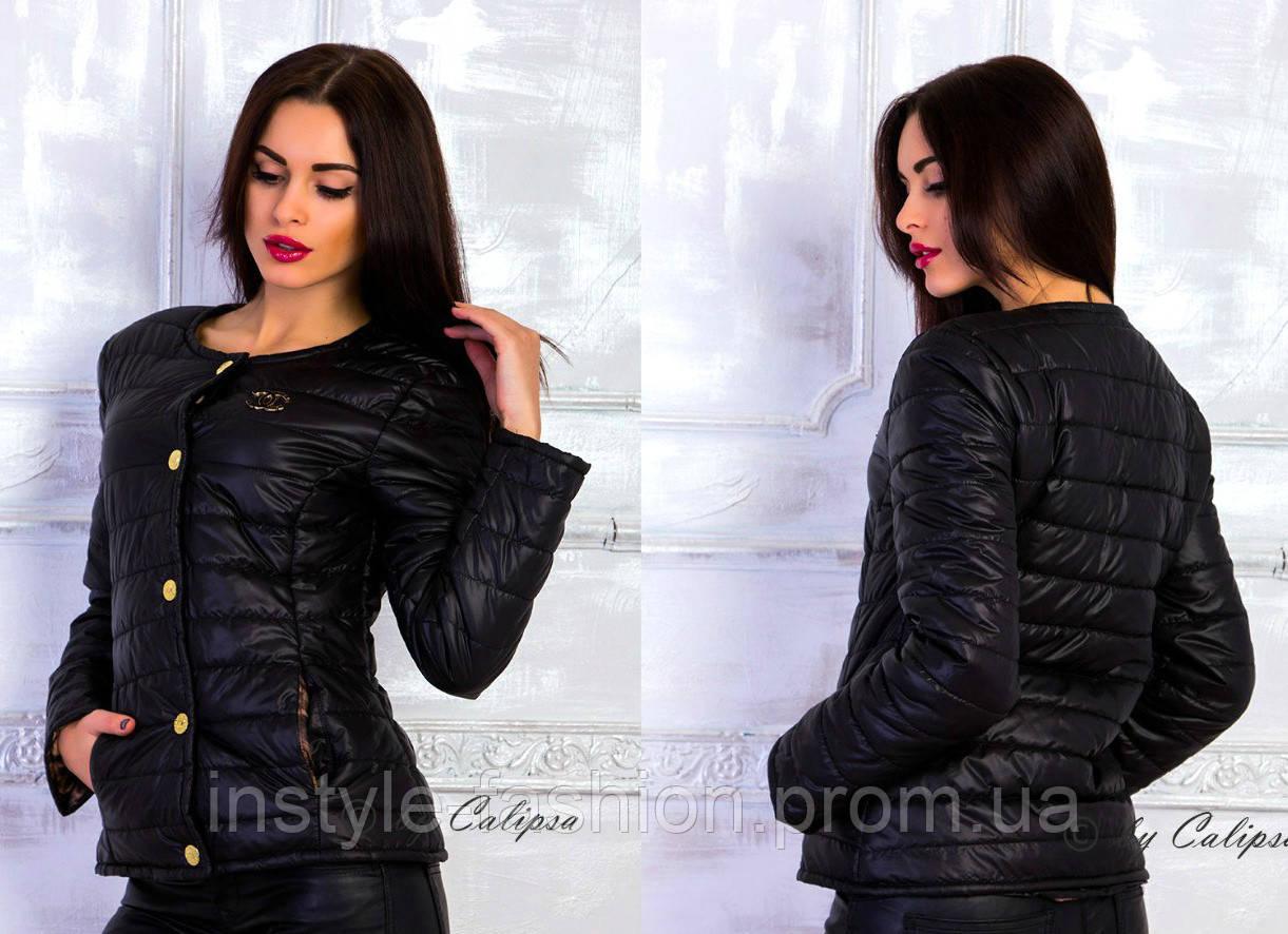 Женская курточка Шанель Chanel на кнопках цвет черный