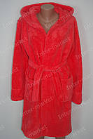 Махровый женский халат на запах M, L, XL, XXL коралловый