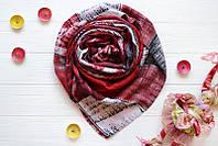 Коттоновый шарф в красных тонах