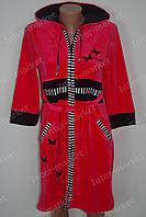 Велюровый халат на замке M, L, XL, XXL коралловый, фото 1