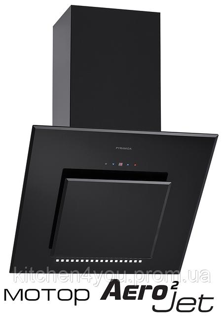 Pyramida HES 30 D-600 black/AJ наклонная кухонная вытяжка, черное стекло с мотором Aero2Jet