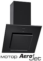 Pyramida HES 30 D-600 black/AJ наклонная кухонная вытяжка, черное стекло с мотором Aero2Jet, фото 1