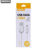 Кабель USB to Micro USB B 1м Remax Quick белый, (блистер) плоский (анти узел) (Материал - термопласт TPE, медн