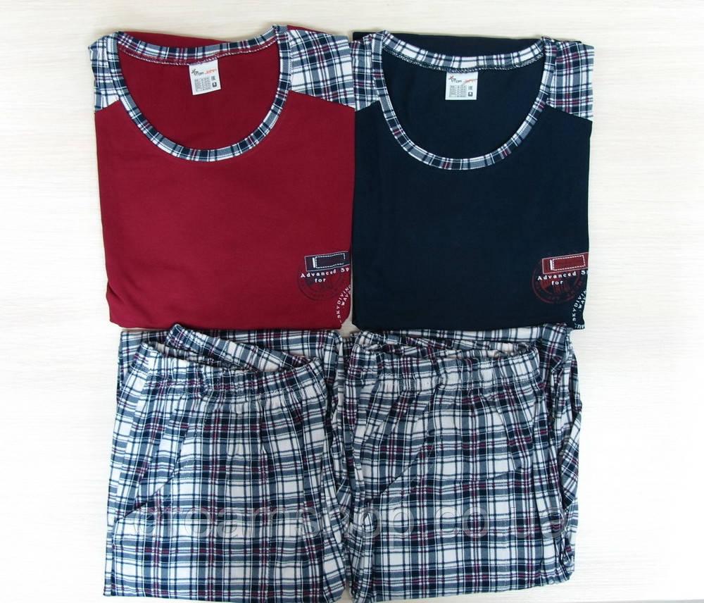 b95e34e825ce4 Пижама мужская со штанами в клетку Комплект, M, темно-синий - Интернет-