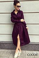 Платье Рубашка Свободный Casual Стиль Миди Воротник