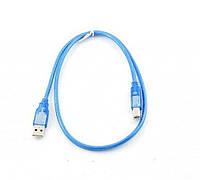Кабель Gresso USB 2.0, 0.8m, АМ-BM, без ферритов, голубая прозрачная оплетка, кулёк
