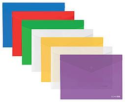 """Папка-конверт A5 на кнопке прозрачная Economix, 180 мкн, фактура """"глянец"""" ассорти E31316"""