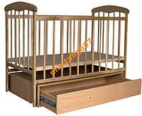 Детская кроватка Наталка светлая маятник, ящик