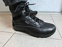 Мужские зимние ботинки САТ Caterpillar черные натуральная кожа (714527) код 838А