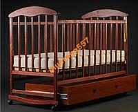 Детская кроватка-качалка с ящиком,лакированная