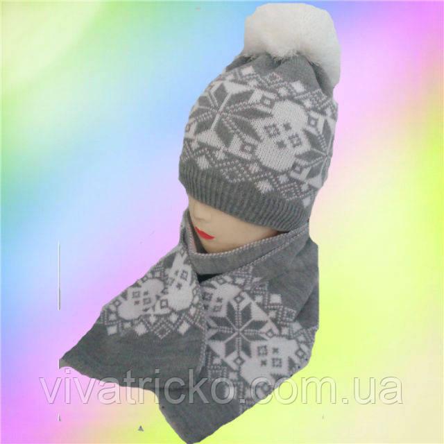 Шапка+шарф для девочек Орнамент зимний 5-12 лет, разные цвета