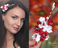 """Веточка фрезии. Свадебные украшения для волос """"Бело-красные фрезии"""", фото 1"""
