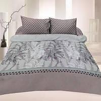 Комплект постельного белья сатин двуспальный серый с папоротью