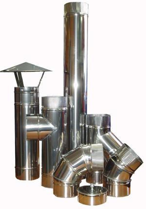 Дымоходы из нержавеющей стали: трубы, колена, тройники
