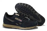Кроссовки мужские Reebok Classic Suede Black (в стиле рибок) синие