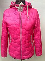 Весенняя осенняя стеганая женская розовая куртка с капюшоном
