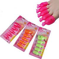 Зажимы для снятия гель-лака с ногтей ног (разные цвета) 1уп