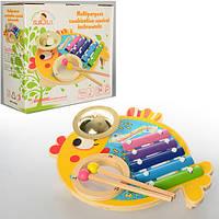 Деревянная игрушка Ксилофон MD 0903 (36шт) металлич.пластины,5тонов, палочки2шт,в кор,26-24-10см