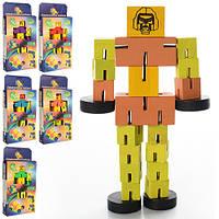 Дерев'яна іграшка Дергунчик M00761 робот, 6 кольорів, кор., 23-11,5-3 см.