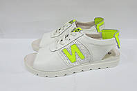 Женские сандалии  ND белые натуральная кожа 563  код 0243А