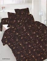 Комплект постельного белья сатин полуторный коричневые завитки