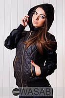Короткая  женская куртка на синтепоне,  батал, рукав и капюшон из меха