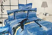 Комплект постельного белья Vie Nouvelle Сатин Фотопринт Дельфины