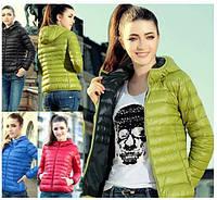 Лёгкая подростковая женская куртка с капюшоном на тонком синтепон Весна Осень Унисекс, фото 1