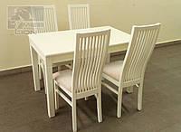 Обеденный комплект стол и 4 стула, цвет белый, ваниль