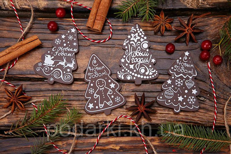 Шоколадные медальоны Елочка. Новогодние презенты из шоколада