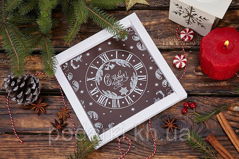 Новогодняя шоколадная открытка часы