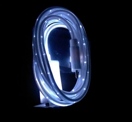 Світиться кабель USB-MicroUSB для смартфонів БІЛИЙ УЦІНКА SKU0000004