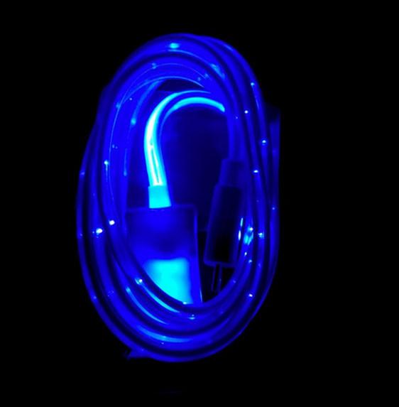 Світиться кабель USB-MicroUSB для смартфонів СИНІЙ SKU0000274