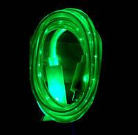 Светящийся кабель USB-MicroUSB для смартфонов ЗЕЛЕНЫЙ SKU0000276
