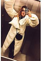 Длинное Пальто на кнопках и молнии с высоким воротом, фото 1