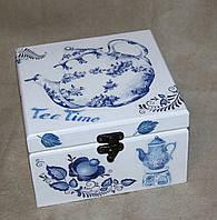 Шкатулка для чайных пакетиков средняя Гжель