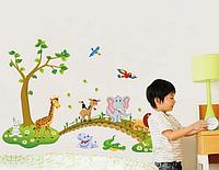 """Наклейка в детскую, наклейки на шкаф в детский сад """"мостик дружбы"""" (90*60см) 90см*1м40см"""
