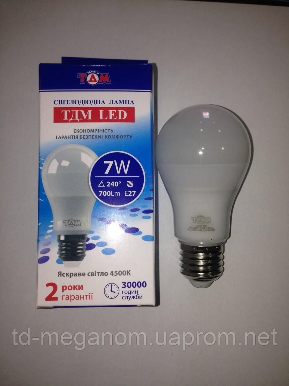 Світлодіодна LED лампа ТДМ A55 Е27 4500k 7w 220v