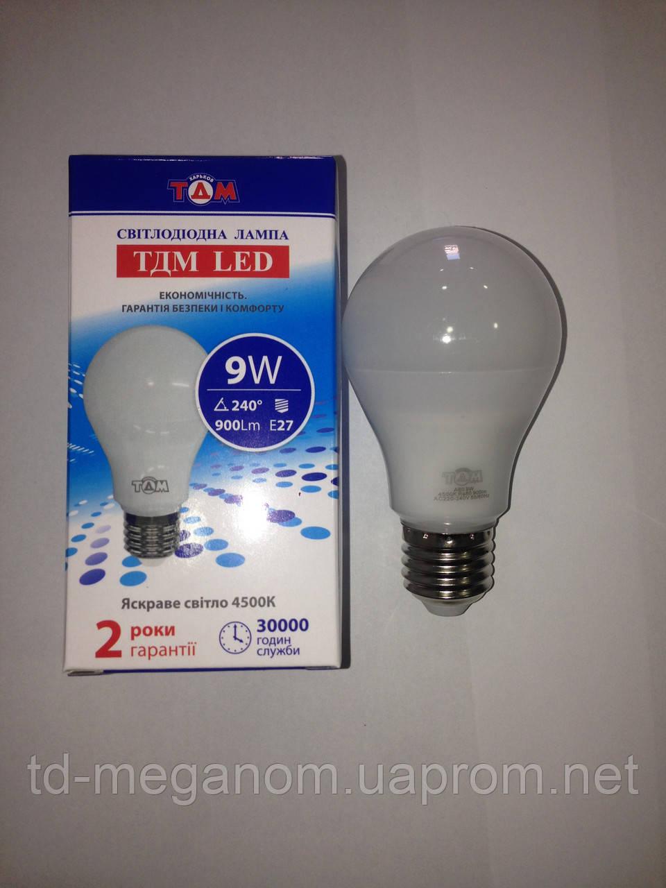 Светодиодная LED лампа ТДМ A60 Е27 4500k 9w 220v