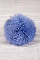 Бубон из натурального меха кролика (голубой)