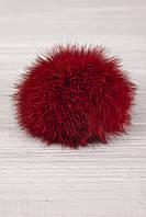 Бубон из натурального меха кролика (бордовый)