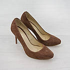 Замшевые туфли лодочки на каблуке Woman's heel бежевые коричневые, фото 5
