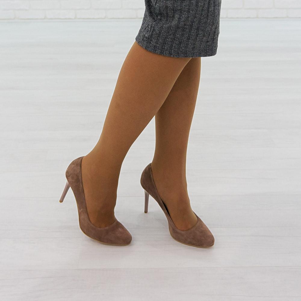 Замшевые туфли лодочки на каблуке Woman's heel бежевые коричневые