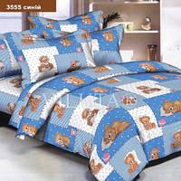 3555 голубой Ранфорс подростковое постельное белье Вилюта