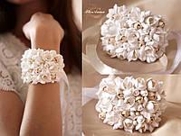 """Браслет для невесты или свидетельницы """"Воздушный айвори"""". Свадебный браслет с цветами"""